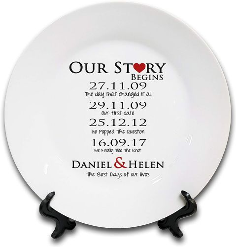 "8"" 'Personalised Our Love Story Begins.' Novelty Ceramic Plate & Stand"